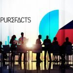 Purefacts logo with people working in an office